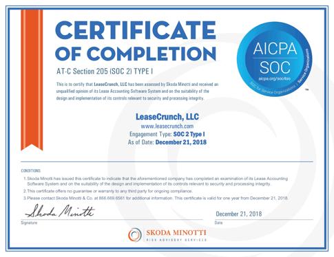 LeaseCrunch, LLC - SOC2 Type 1 Certificate - 2018