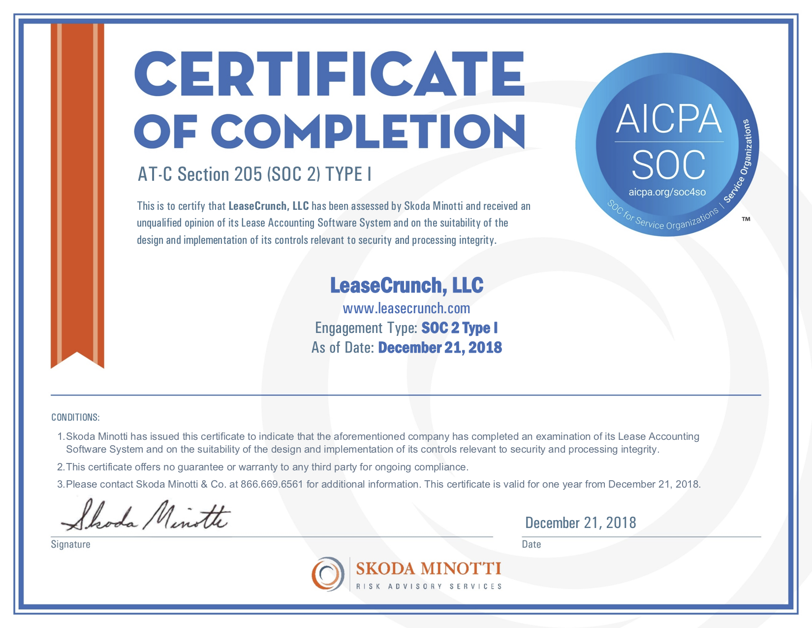 LeaseCrunch, LLC - SOC2 Type 1 Certificate - 2018