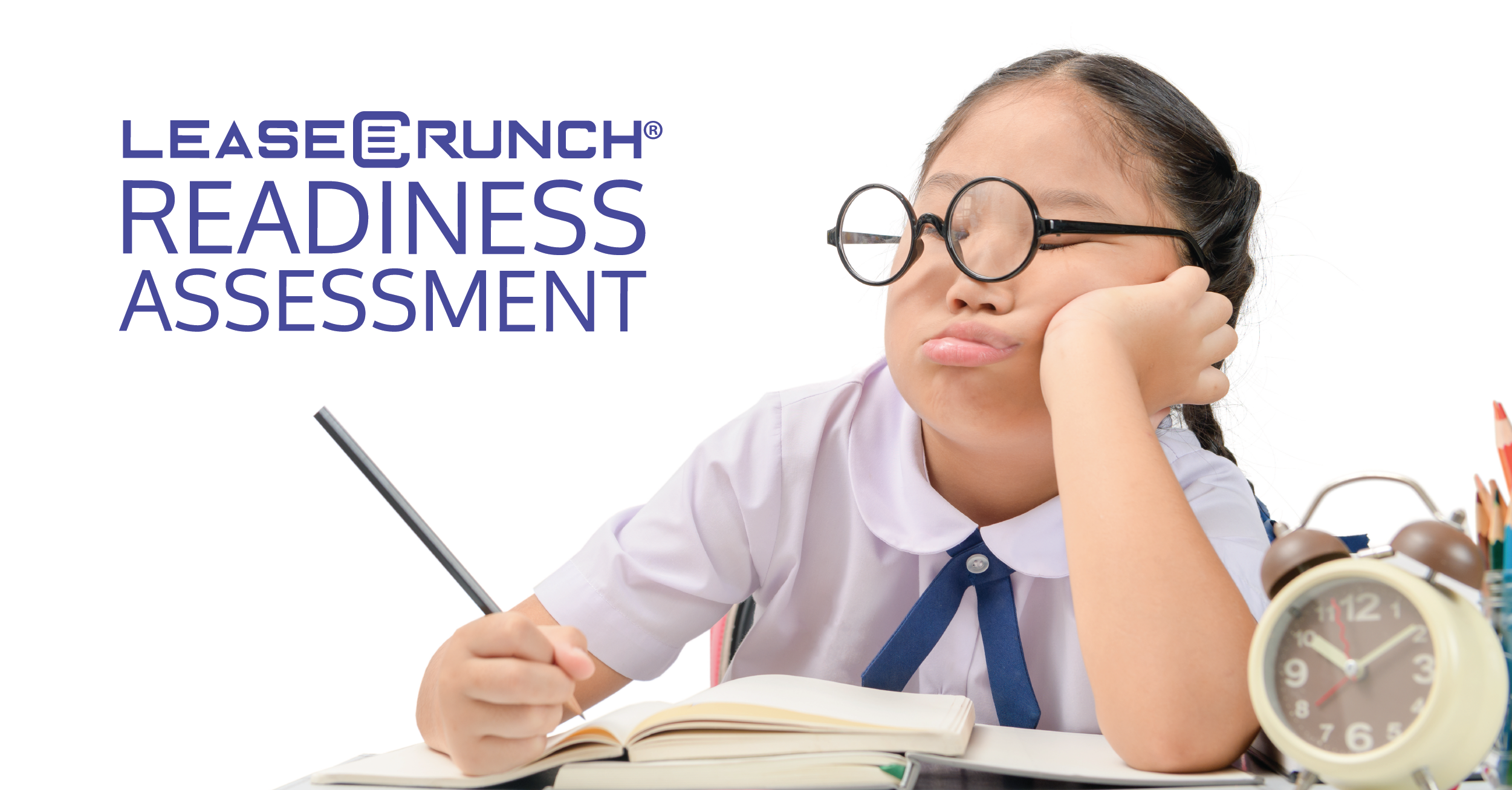 LeaseCrunch Readiness Assessment logo in front of a school child at a desk.