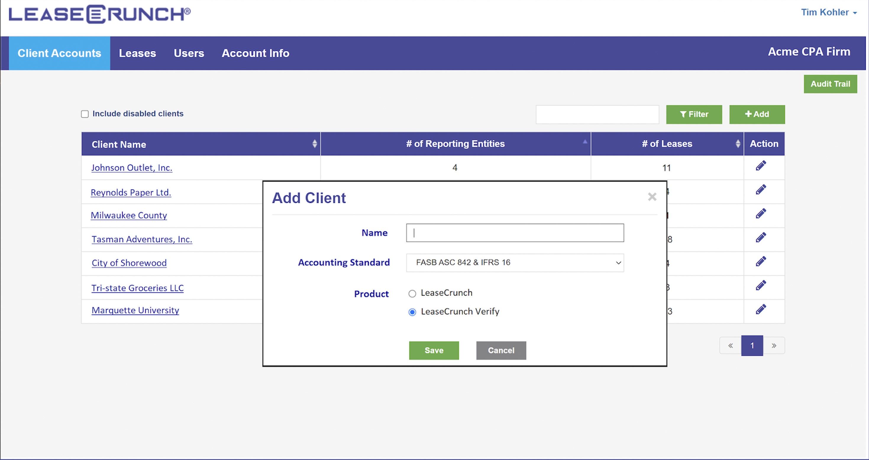Client Account Tab